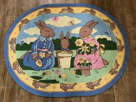 Bunnykins Royal Doulton Couristan 100% wool 35 x 45 area rug hooked 1995... - $124.50