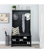 Black Wooden Hall Tree Coat Rack Hooks Shoe Storage Locker Entryway Cubbies - $195.92