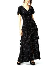 BAR III Womens Black Polka Dot Print Flutter Sleeve Tiered Maxi Dress Si... - $34.64