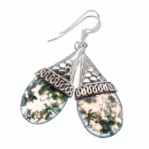 Beautiful Moss Agate Drop Earrings, One of a Kind, Sea weed - $28.00