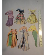 Vintage Set of 6 Glamourous Paper Doll Outfits 1950's - $6.92