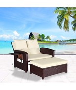 2 PC Rattan Wicker Love Seat Sofa Daybed Set Outdoor Patio Ottoman Loung... - $499.99