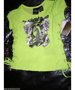 BABY PHAT FOIL KITTY TEE W/SIDE TIES, MIMOSA NEON COLOR, SIZE 2T, NWT - $12.86
