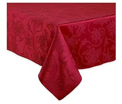 Christmas Ribbons Ruby Red Damask Fabric Tablecloth 60 x 120 Rectangle/O... - $35.77