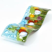 Fused Art Glass Tulips Flower Field Wavy Decor Sun Catcher Handmade in Ecuador image 6
