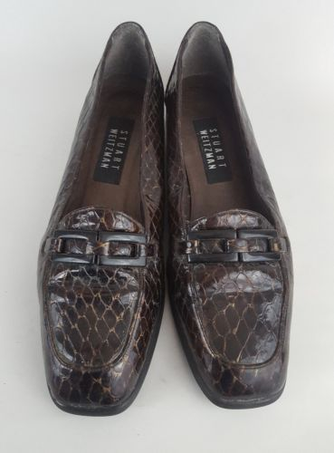Stuart Weitzman Patent Leather Croc Embossed Loafer Brown Womens 6.5B
