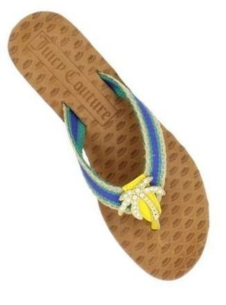 Women's Juicy Couture FAY Palm Tree Flip Flops Sandals Seaside Blue Multi US 5.5 image 1