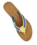 Women's Juicy Couture FAY Palm Tree Flip Flops Sandals Seaside Blue Multi US 5.5 - £44.04 GBP