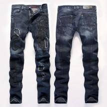 2018 New Brand Slim Straight Stretch Jeans European Style Rock Embroidered Stitc - $51.00