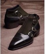 Men's Handmade Dark Brown Leather & Suede Boots, Men's Triple Monk Ankle... - $149.99+