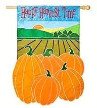 "Happy Harvest Time Autumn House Flag 28""X44"" Applique Fall Pumpkins Banner New - $11.87"