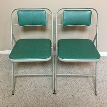 Samsonite Pair Of Padded Folding Chairs Vintage Mid Century Style 6867 G... - $90.00