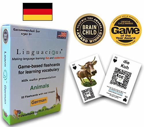 Linguacious Award-Winning German Animals Flashcard Game - The ONLY One with Audi