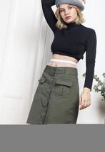 90s vintage button up skirt w frayed hem - $34.69