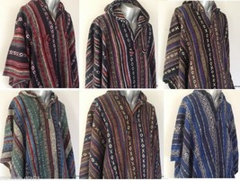 Hooded Poncho Hippie Baja Warm Mexican Style Brushed Nepalese Gheri Cott... - $63.81