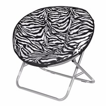Zebra Folding Faux Fur Saucer Papasan Dorm Chair Home Living Bedroom Fur... - $97.31