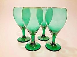 Vintage 4 Libbey Emerald Green Juniper Wine Glasses Water Goblet Stemware Gold - $19.33