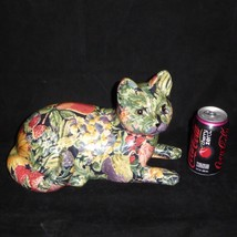 """Large Porcelain Cat FLowers Sunflowers Fruit Design 12""""  - $69.25"""
