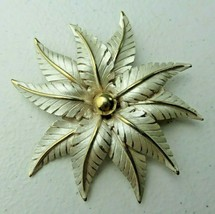 HIGH END Signed LISA Flower BROOCH PIN Vintage Jewelry Rhinestone  - $30.00