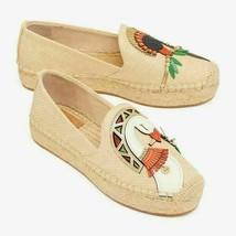 Tory Burch Women Espadrille Flats Parrot Size US 10.5 Raffia Calf Leather - $195.26