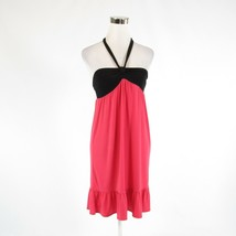 Salmon pink black color block ANN TAYLOR LOFT stretch halter neck shift ... - $29.99