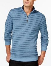 Tasso Elba Men's Blue Striped 1/2 Zip Pullover Sweater Medium - $658,69 MXN