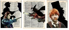 Art N Wordz Harry Potter Hermione Ron Set Dictionary Pop Art Print Set of 3 - $63.00