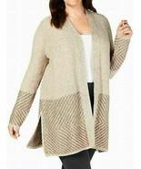 Karen Scott Womens Sweater Plus Open Front Cardigan Beige 0X - $24.99