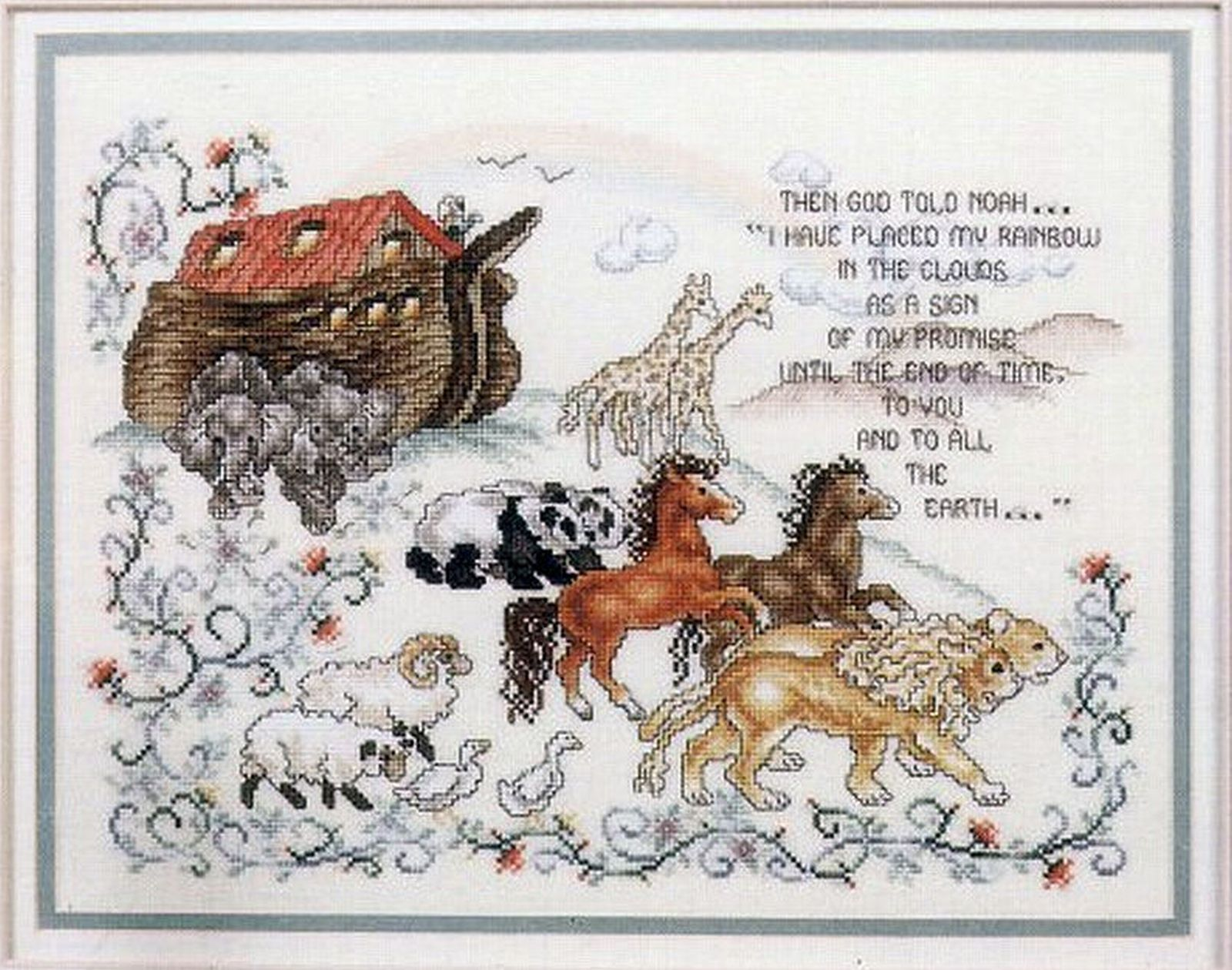 Primary image for Vintage 1989 Cross Stitch Noah's Ark 2 Horses Lions Bears Elephants Pattern