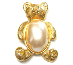 """Vintage Teddy Bear Brooch Rhinestone Faux Pearl Pin 2"""" Tall RICHELIEU - $10.00"""