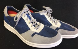 UGG SLAYTE STRIPE PERF Marino Blue LEATHER SNEAKER SHOES MENS SIZE 11.5 US - $79.99