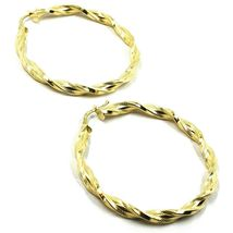 18K YELLOW GOLD BIG HOOPS EARRINGS DIAMETER 50mm TUBE 5mm TWISTED SATIN POINTED image 3