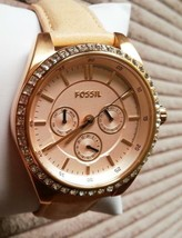 BRAND NEW FOSSIL BQ3014 ROSE GOLD GLITZ BEIGE LEATHER STRAP WOMEN'S WATCH - $94.04
