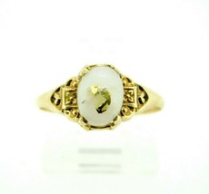 10k Yellow Gold Genuine Natural Gold Vein Quartz Ring (#J4426) - $325.00