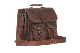 "18"" New Real Leather Briefcase Shoulder Bag School Office Lawyer Bag - $44.55"