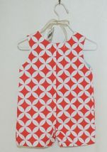 MudPie Monkey Shortall Red White Flower Geometrical Design Size 0 to 6 Months image 3