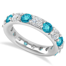 4.20 Ct Round Blue & White Real Diamond 14K Gold Full Eternity Weddi... - €2.510,04 EUR