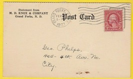 M.D. KNOX & COMPANY GRAND FORKS N.D. FEBRUARY 1937 POSTAL CARD  - $1.98