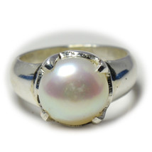 Natural Pearl 925 Solid Silver Ring For Men Women Prong 6 Carat Size UK ... - $36.73