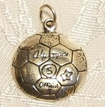 Sterling Silver 18mm Rounded detailed Soccer Ball Charm image 1