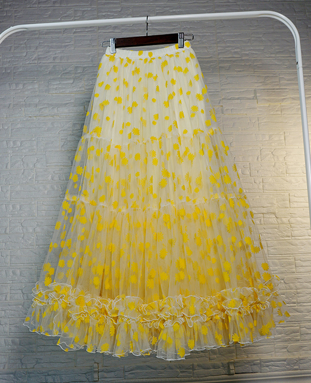 Women Yellow Tulle Maxi Skirt High Waist Floral Tiered Tulle Skirt Plus Size