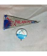 Philadelphia Phillies ca 1950's Mini Felt Pennant and Pinback - $23.36