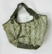 Jessica Simpson Purse Gray Beige Watersnake Textured With Handles New  - $59.39