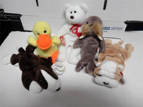 TY Beanie Babies Wrinkles Jolly Bruno Valentino Quackers PVC Pellets Lot of 5
