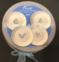 "Holiday Christmas Frost 2004 Boston Warehouse 6-1/2"" Dessert Plates Set ... - $34.99"