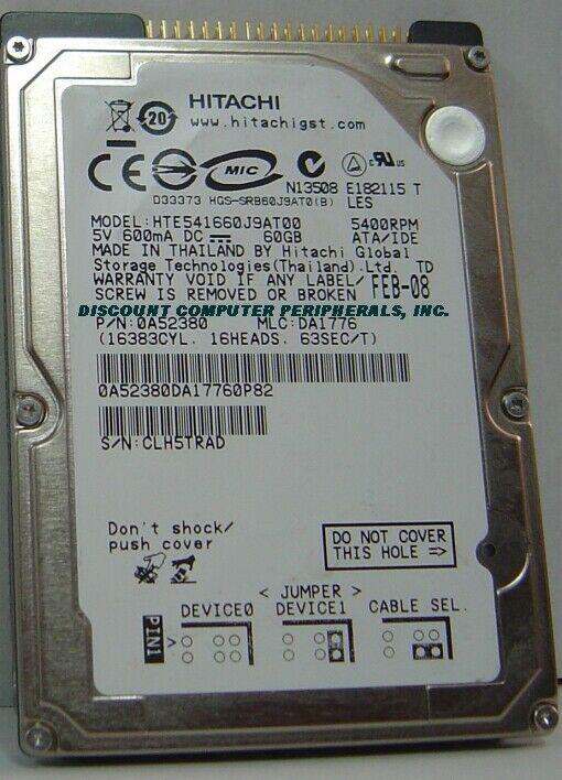 "NEW 60GB IDE 44PIN 2.5"" 9.5MM drive Hitachi HTE541660J9AT00 Free USA Ship"
