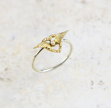 Lovely Victorian 14K Yellow Gold Angel Winged Heart Seed Pearl Conversio... - $499.95