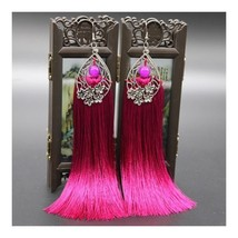 Long Earrings Tassel Fringe Vintage Bridal - $12.34