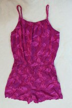 Cherokee Girls Romper Size XL Pink Leaf Pockets Shorts Outfit Casual - $17.81