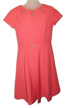 ELLEN TRACY Belted Fit and Flare Dress Triple Keyhole Neck Coral  4 - $24.00